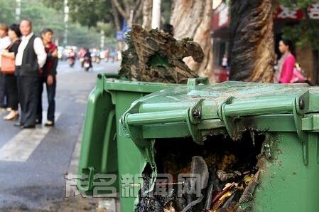 油城四路多个垃圾桶遭人焚烧