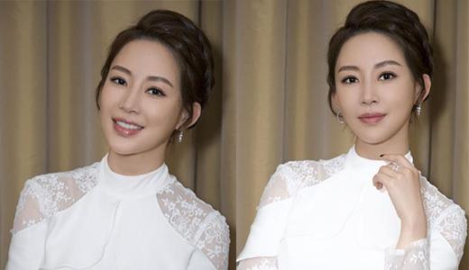 潘晓婷高清美图 白色镂空长裙高贵又优雅